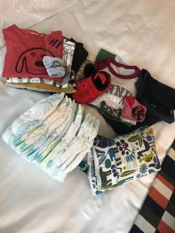 Uma das malas de mão, tenho um kit de troca dentro da mochila para ficar mais prático